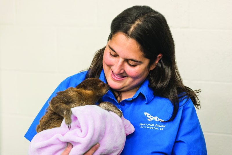 6_National Aviary_Cathy Schlott Smiles at Baby Sloth_Jamie Greene